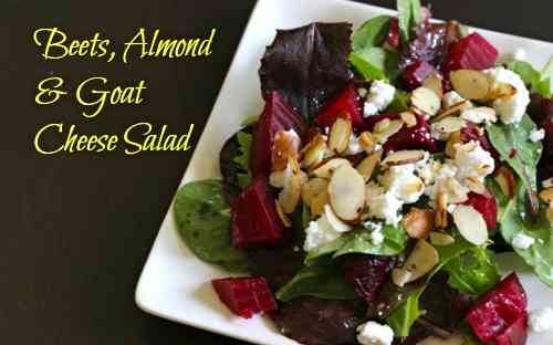 Beets, Almonds & Goat Cheese Salad
