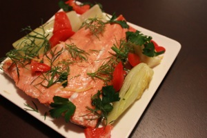 Baked Salmon, Fennel and Red Pepper