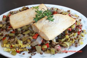 Fish with Spicy Green Lentils