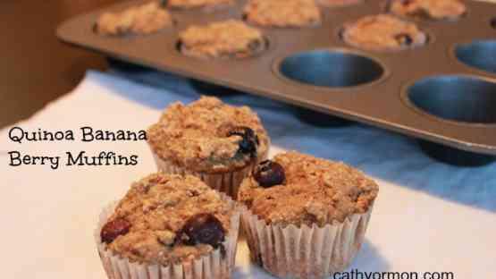 Quinoa Banana Berry Muffins