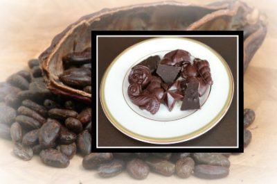 Raw Chocolates on background of raw cacao beans