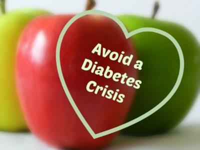 Avoid Diabetes in heart on apple background