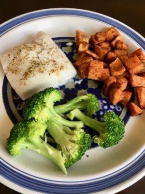 Mahi Mahi, Cinnamon Yam Bites & Steamed Broccoli