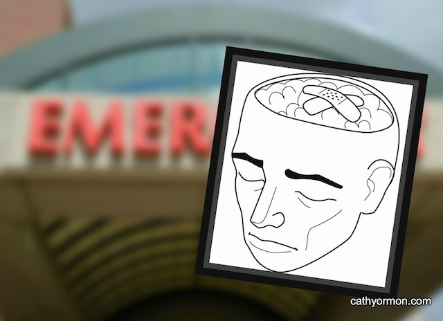 drawing of damaged brain, blurred emergency sign in background